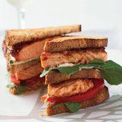 Salmon Club Sandwiches, Recipe from Cooking.com: Salmonclub, Club Sandwiches, Food, Club Sandwich Recipes, Sandwiches Recipe, Salmon Club, Healthy Club, Fish Recipe