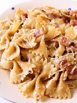 Garlic Chicken Farfalle. The BEST pasta I have ever had. Seriously better than you'll find in any restaurant. You can make the chicken ahead in the crockpot!