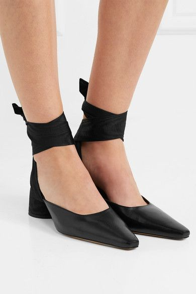 a53064457a8 Heel measures approximately 55mm  2 inches Black leather and satin-twill  Ties at ankle