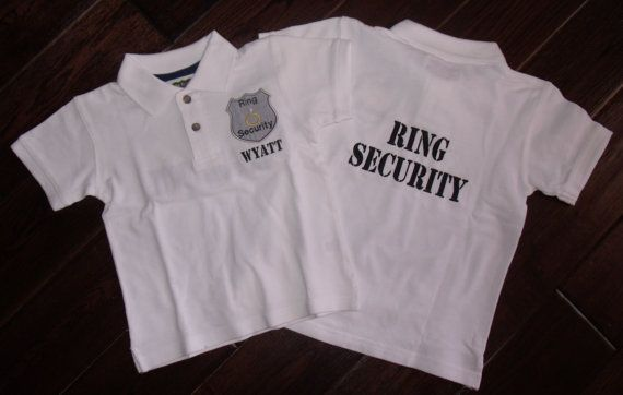 Boutique Ring or Crown Bearer Security Wedding Polo Shirt with name.  Sizes 12M to 14 Youth Short Sleeves - Place to order.