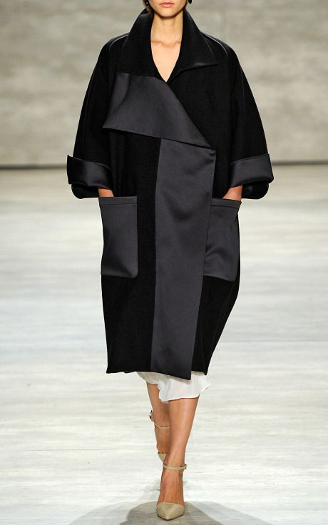 Black Bonded Wool Felt And Satin Oversized Coat by Tome for Preorder on Moda Operandi