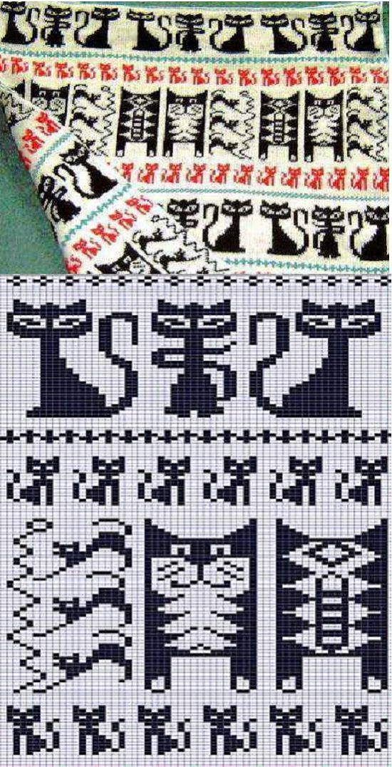 Cat fair isle pattern