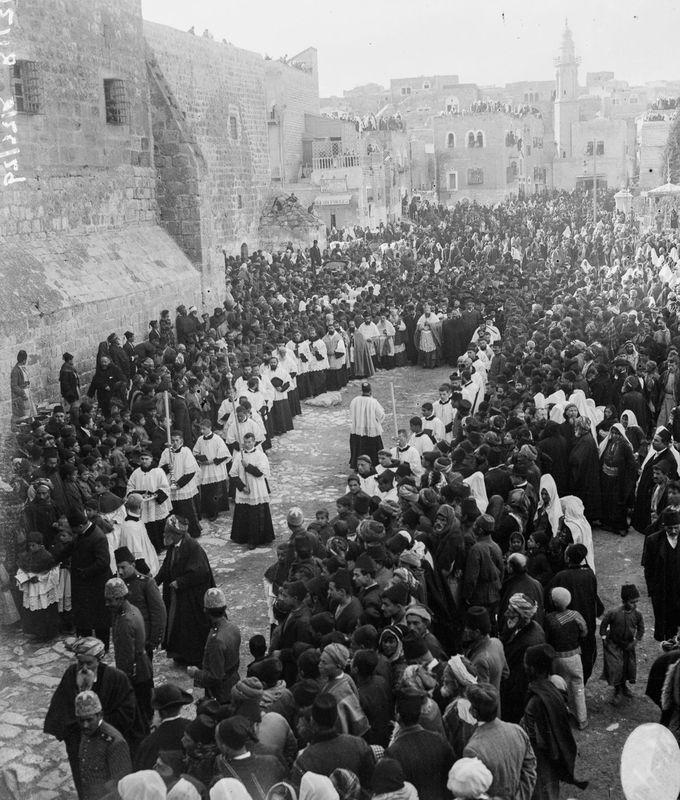 A Catholic bishop arrives for Christmas services;  1915 in Ottoman Jerusalem.  #Christian #Orthodox #Jesus #Mary #Mysticism #Mystic #Spirituality #Catholic #Protestant