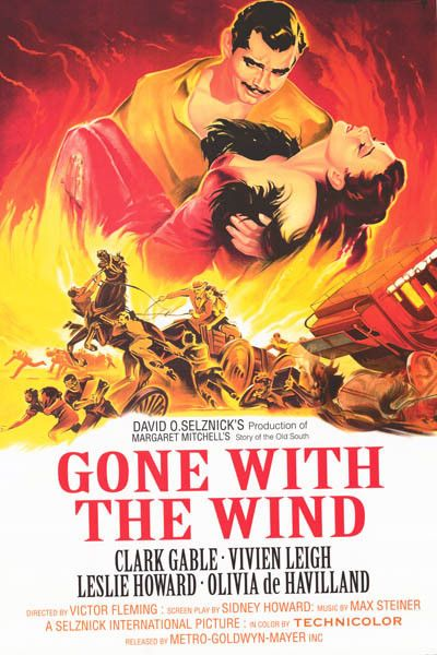 A beautiful Gone with the Wind movie poster! Passions run high like the flames burning Atlanta in the epic film starring Clark Gable and Vivien Leigh! Fully licensed. Ships fast. 24x36 inches. Get swe