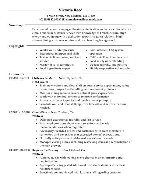 waiter resume sample. waitress resume cover letter for cocktail ... - Bartender Resume Example