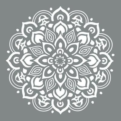 For the kids club house floor: DecoArt Americana Decor 10 in. x 10 in. Mandala Stencil-ADS505-B - The Home Depot