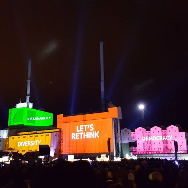 Aarhus 2017 - the European Capital of Culture. The #officialopening January 21st. Awesome show @aarhus_2017 👏🍾🌈 #letsrethink #aarhus2017 #europe #culture #visitaarhus #visitdenmark #govisitdenmark #Aarhus #aarhusø #reasontovisitme #dokk1 #industrialarea #kulturby2017 #europeancapitalofculture #future #show #rainbowcolors #sustainability #democracy #diversity #oneworld #nofilter #samsunggalaxys6