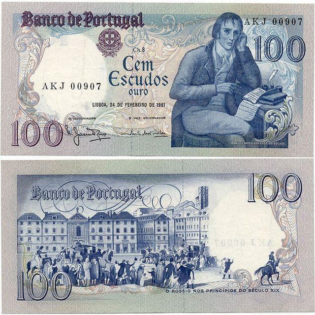Antiga nota de cem escudos (Moeda utilizada antes do Euro) - Banco de Portugal.