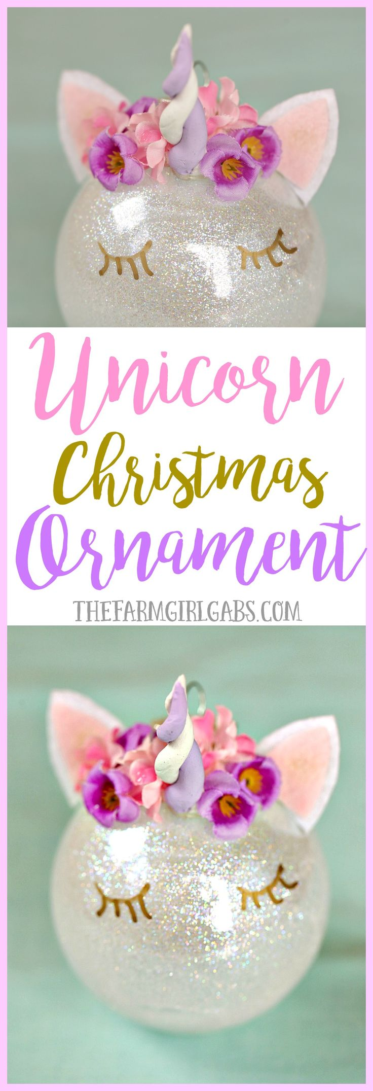 This magical Unicorn Christmas Ornament is an easy DIY ornament to make for your Christmas tree this year! #Ornaments #Christmas #DIY #PPHOLIDAY