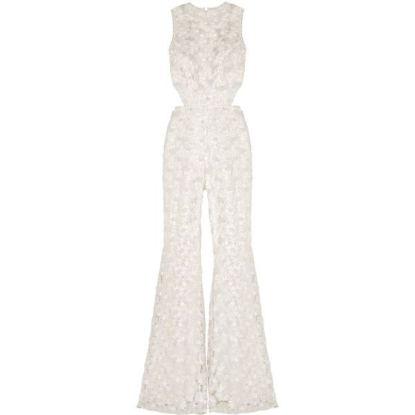 Alexis - Valerja Cutout Corded Lace Jumpsuit (380 CAD) ❤ liked on Polyvore featuring jumpsuits, ivory, white lace jumpsuit, ivory lace jumpsuit, cut out jumpsuit, white cut out jumpsuit and cut-out jumpsuits