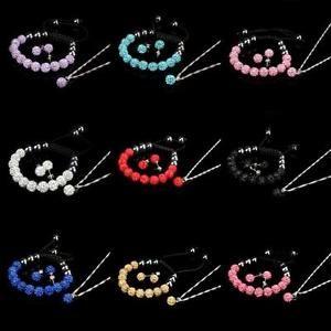 10MM Crystal Ball Shamballa Women Lady Bracelet Earrings Set Necklace Jewelry