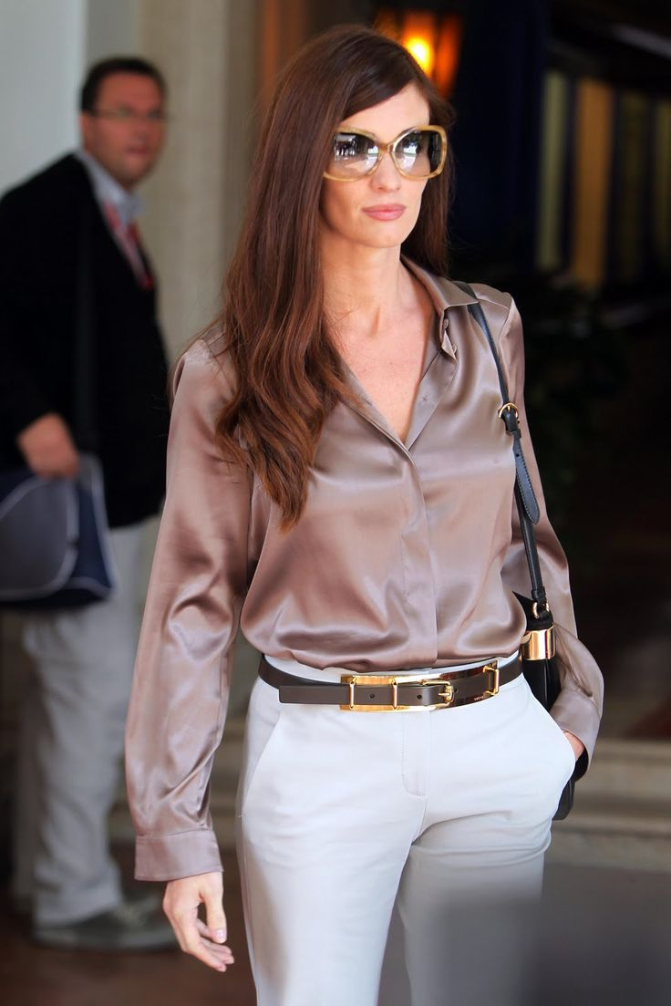 paz vega   paz vega - light brown satin blouse