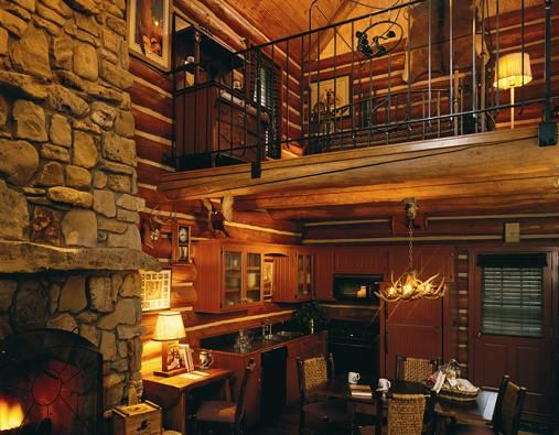 Rustic loft living room - stone, weathered wood, fireplace, chandelier, primitive, country, cabin, lodge