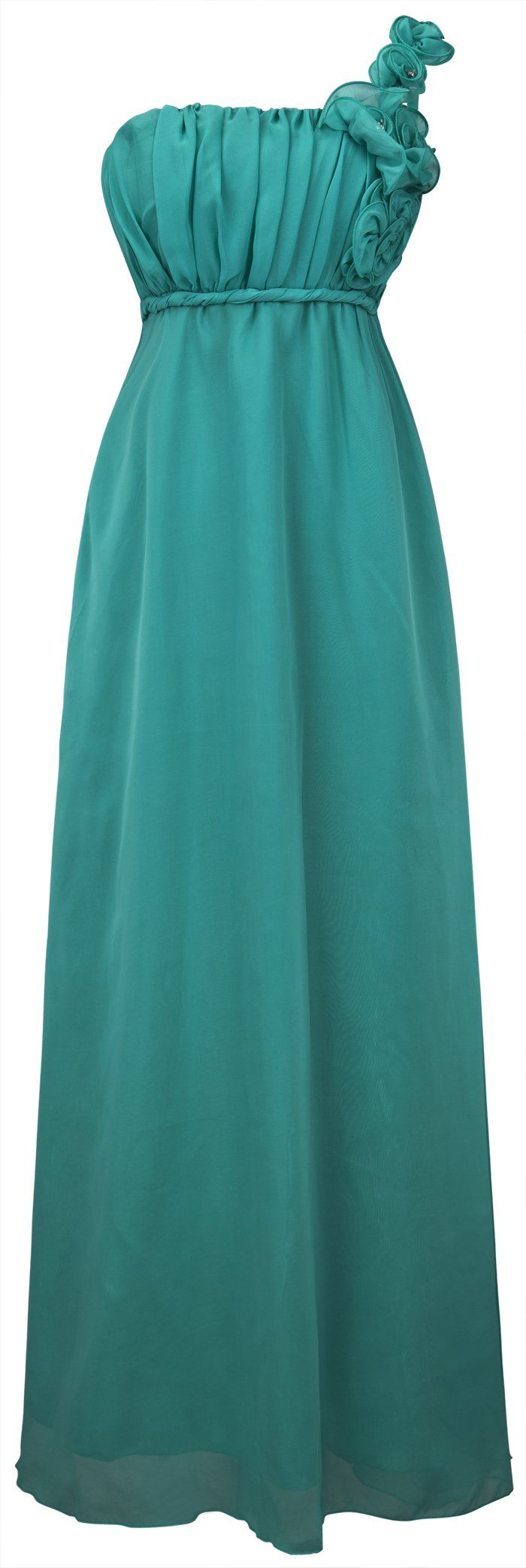 Angel-fashions Damen Floral One-Shoulder-Ruschen Brautjungfer Abendkleid: Amazon.de: Bekleidung