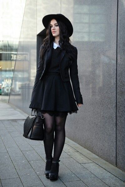 Black dress with Peter Pan collar, jacket and accessories