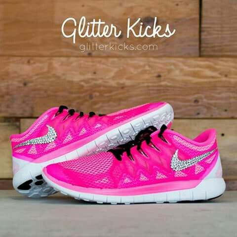 13d637751860 ... Nike Free Run Glitter Kicks Running Shoes PinkWhite ...