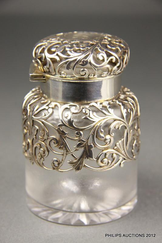 Art Nouveau, American sterling silver-mounted glass perfume bottle