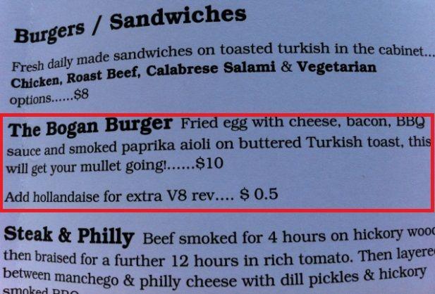 Funny Food Names - The Bogan Burger! | The Travel Tart Blog