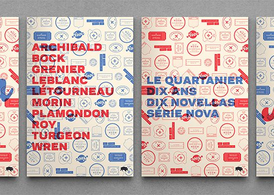 """To celebrate Le Quartanier's tenth anniversary, Montreal-based studio Pointbarre Collective created illustrated book covers for a ten novel series.  """"The studio opted for a minimalistic grid and a sober font. The collective also designed eleven posters and a box which were produced in a 200 limited series.""""  Pointbarre's website via LLGD"""