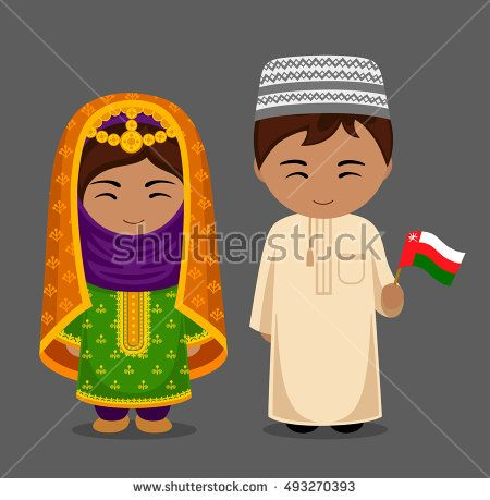 Man and woman in traditional costume. Travel to Oman. People in national dress with a flag. Vector flat illustration.