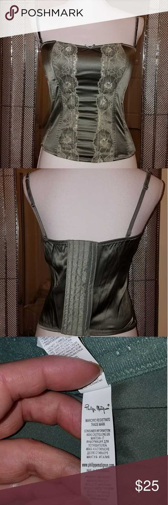 Corset with boning in sage green Corset with boning in sage green nwot. Size 36. Not for someone large chested.  Demi style bra. phillipe matignon Intimates & Sleepwear Shapewear