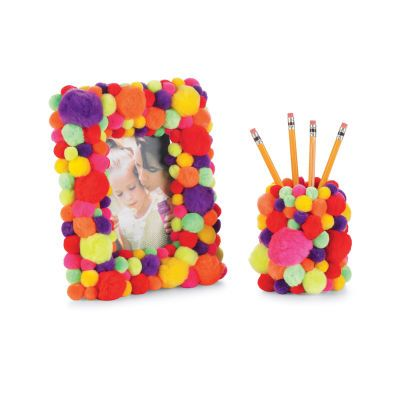 Pom Pom frames and pencil holders. I have been looking for something to do with pom poms!