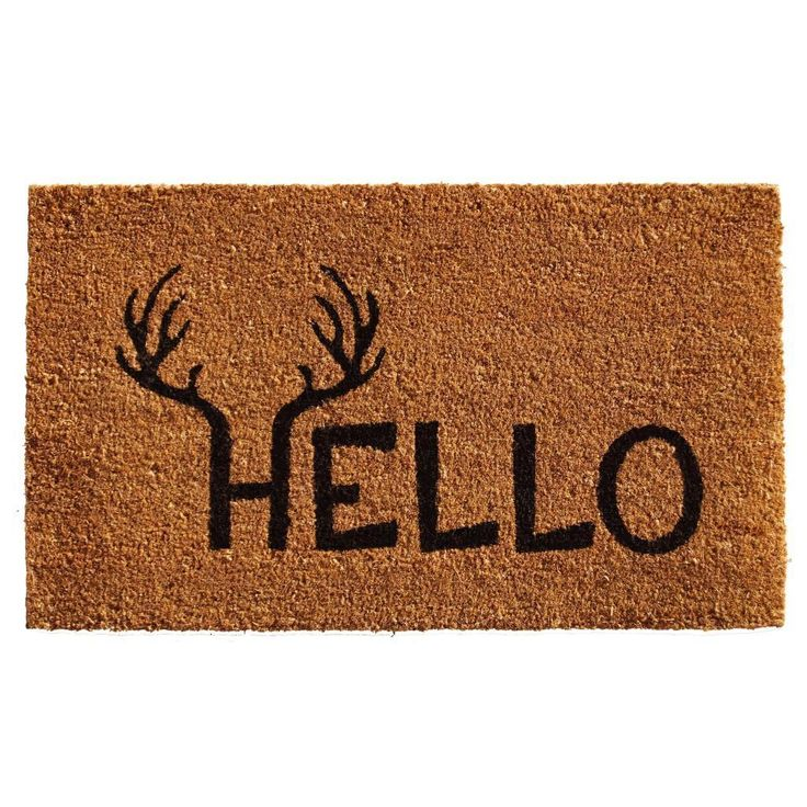 Create a unique entryway your guests won't forget with this imaginative Antler Hello doormat.  Oversized to provide more coverage, this durable natural coir mat scrapes shoe bottoms clean and is vinyl backed to prevent movement when walked on.