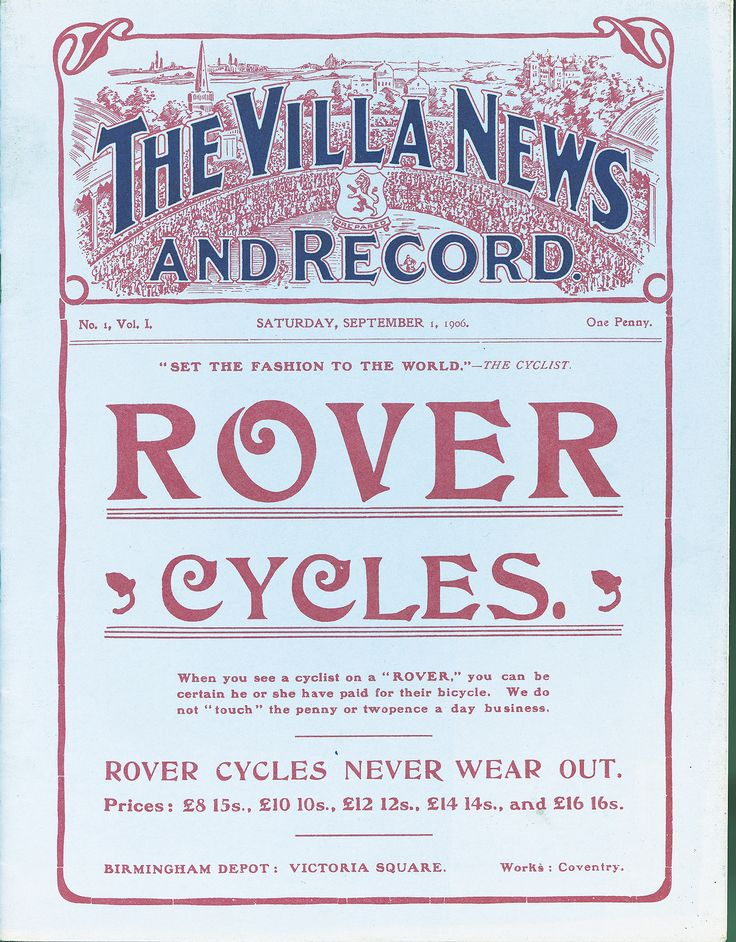 First ever Villa News & Record is released in 1906