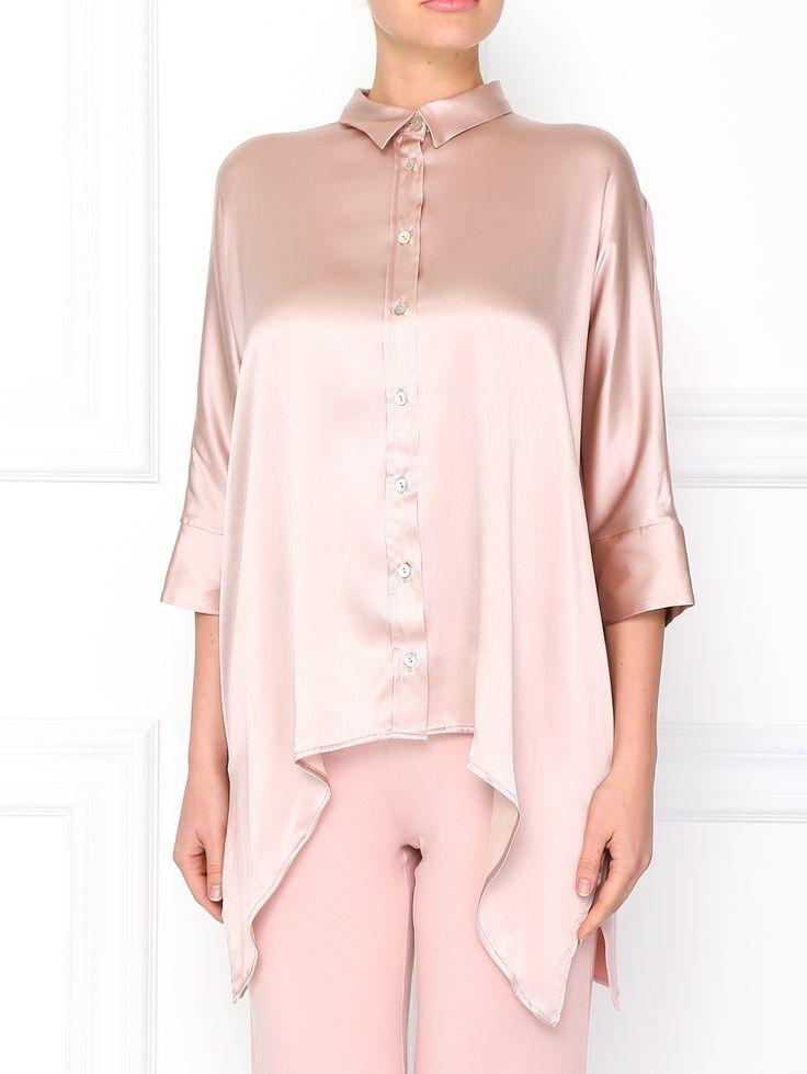Эта шелковая рубашка станет эффектным дополнением любых контрастных узких брюк или леггинсов благодаря архитектурному разноуровневому подолу.  Интернет-бутик https://www.gisele.ru