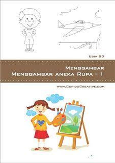 buku petunjuk langkah-langkah menggambar aneka bentuk (kendaraan, lain-lain)untuk anak SD