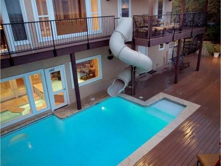 Home indoor pool with slide  Who needs the stairs when you can take just take the water slide ...