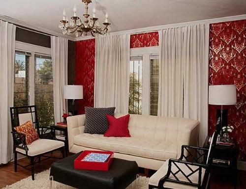 inspiration for my living room red walls nude sofa and accents