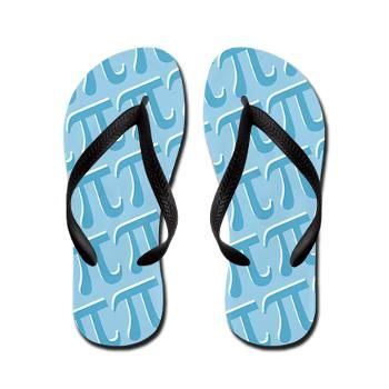 Pi Pattern - Blue and White Flip Flops. Fun beach or pool gift for the geek!