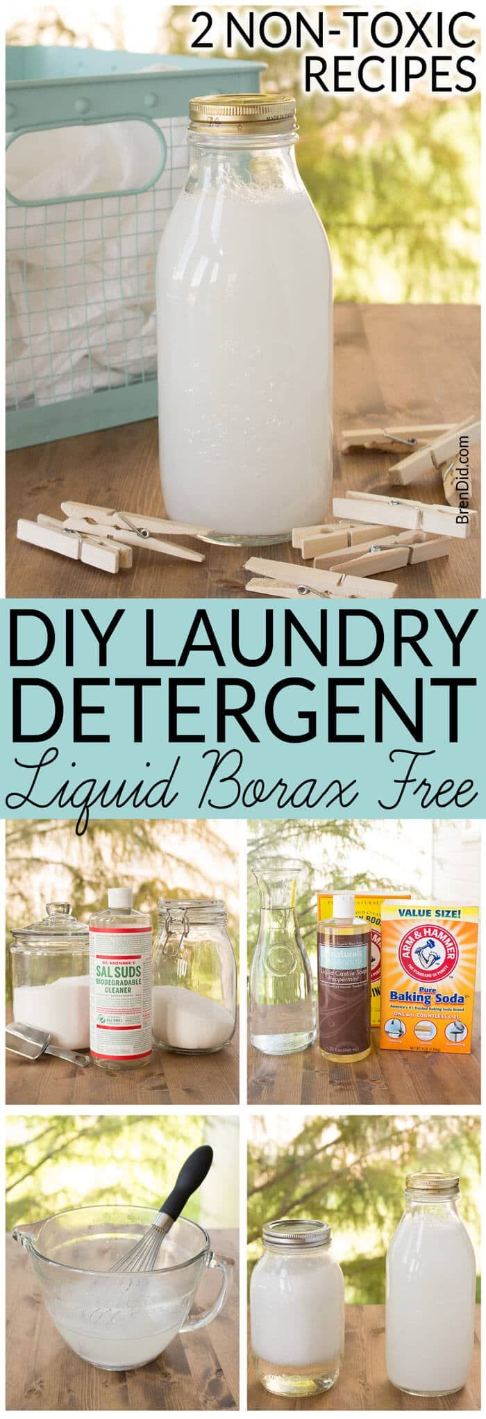Two easy laundry detergent liquid recipes. Learn to make small batch non-toxic laundry detergent that rates an A on the EWG Healthy Cleaning scale.  Borax free. 14 loads for $3.00. via @brendidblog