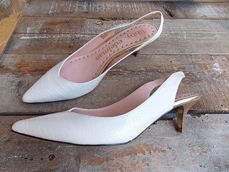 New Libby Edelman Heels Size 7 Slingback Barney Off White Pumps Shoes  #LibbyEdelman #Slingbacks