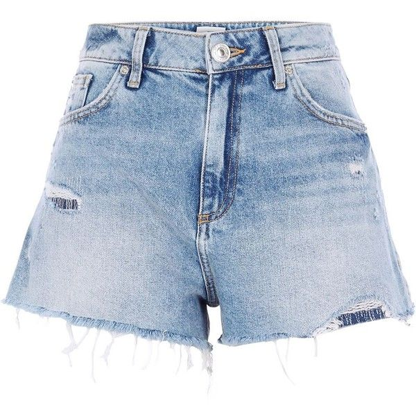 River Island Mid blue distressed high waisted shorts ($64) ❤ liked on Polyvore featuring shorts, blue, denim shorts, women, distressed denim shorts, blue high waisted shorts, ripped shorts, high rise denim shorts and high waisted ripped shorts