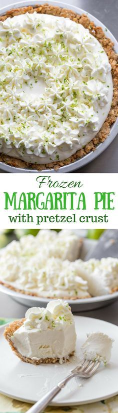 Frozen Margarita Pie with a Pretzel Crust ~ a wonderful light, creamy grown-up dessert that is incredibly easy to make with just a few tasty ingredients. Not too sweet, and not too boozy, this is a must make for all your summer parties! www.savingdessert.com
