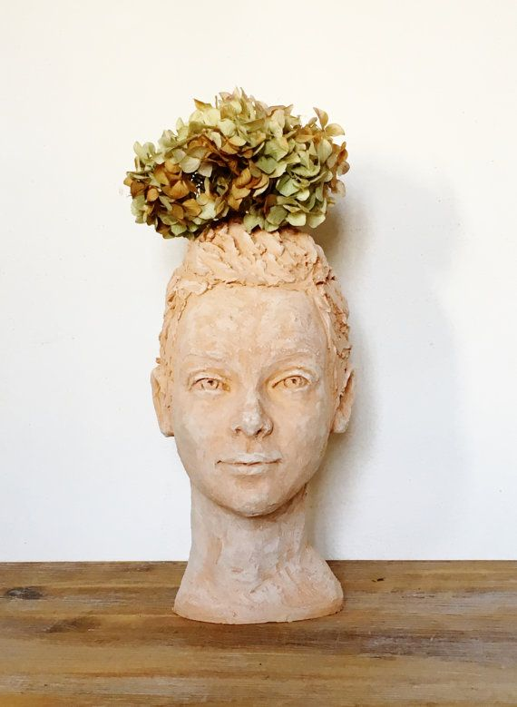Head Planter Lisette Face Of Woman Terra Cotta Sculpture Garden Staute Home Décor Pottery