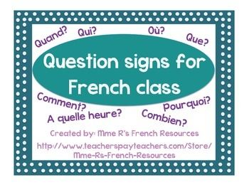 8 posters to help your students learn the BASIC question words -Who? What? Where? When? Why? How? At what time? How many?  Each poster has the question word, the English translation, and an example question and answer.  Available in color or black and white.