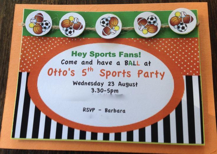 Handmade Sports Party Birthday Card