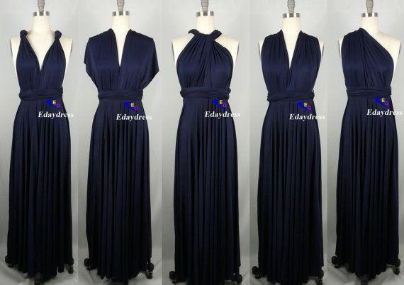 Sweet heart Wrap Convertible Infinity Dress Evening Dresses Straight Hem Floor Length Navy Bridesmaid Dress