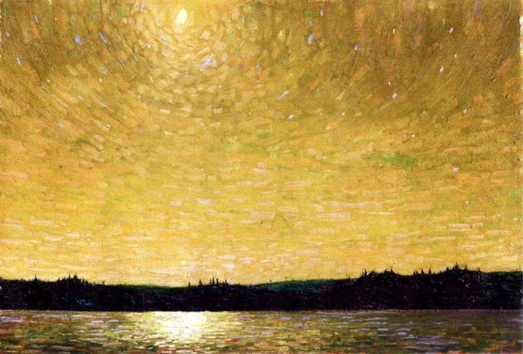 Tom Thomson - Moonlight Sail, 1913-14. Oil on cardboard, 52.9 cm (20.83 in.) x 77.1 cm (30.35 in.). National Gallery of Canada, Ottawa