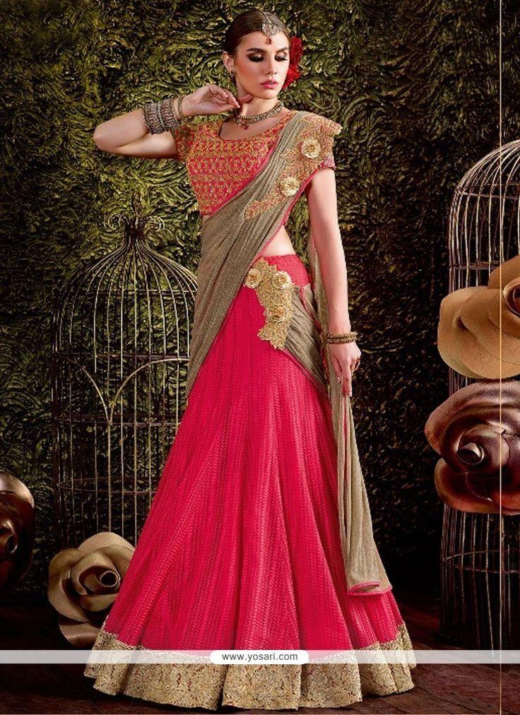 Prime Pink Zari Work Net Lehenga Saree Model: YOSAR11701