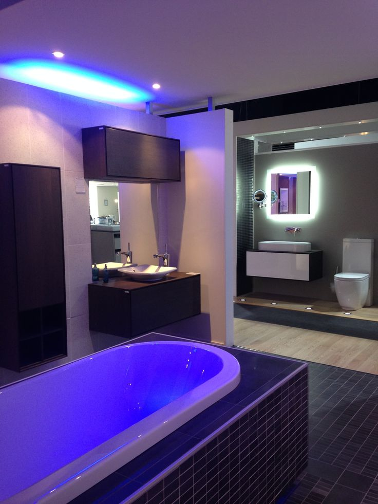 Bathroom displays in the Galvin Design Gallery (Kohler Evok bath, Escale counter top basin & Magaux mixer, shown with Hatria Sliding Wood cabinetry, Area 800mm basin & Fusion toilet suite)