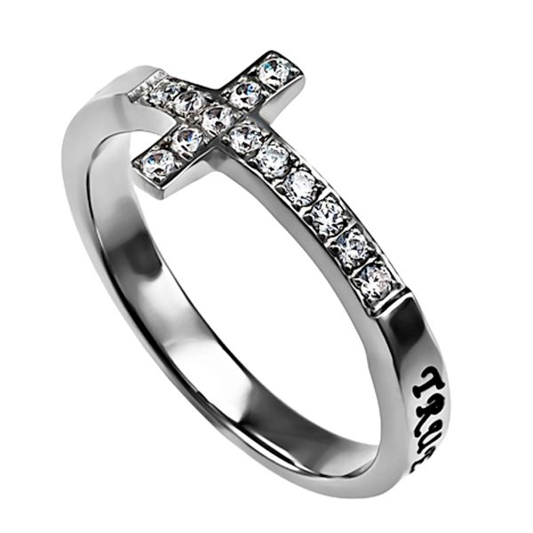 True Love Waits - Ladies Sideway Cross Ring Stunning high polish stainless steel cross shaped band set with 13 CZ stones. Black enamel filled engraving wraps en