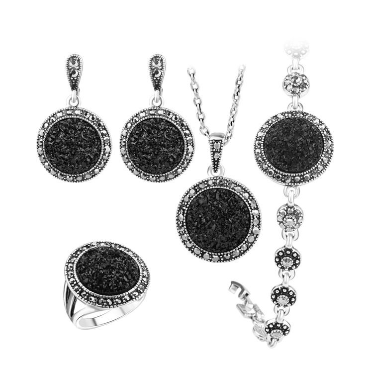 Black Broken Stone Wedding Jewelry Set // Price: $12.95 & FREE Shipping Worldwide //  We accept PayPal and Credit Cards.    #model