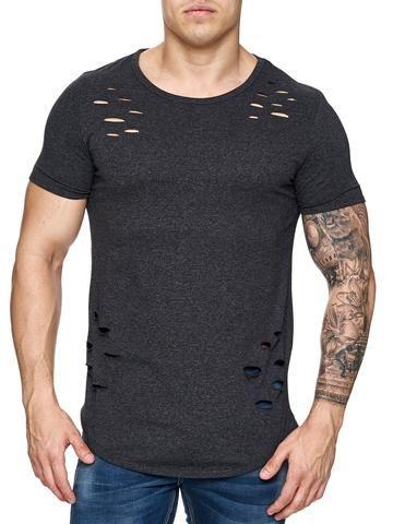 F&S Men Ripped Holes T-Shirt - Asphalt Gray   style men ...