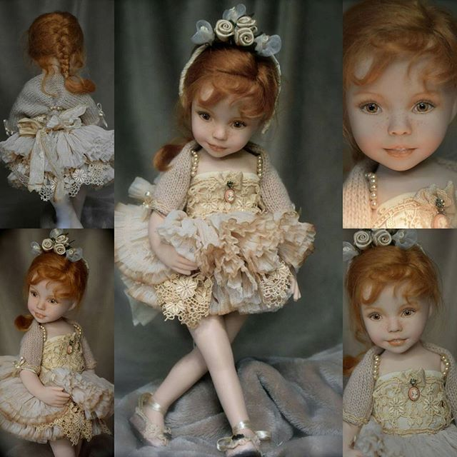 AMBRA porcelain doll handpainted eyes and face by Laura Corti Dadatti (from Dianna Effner mold Joanna)
