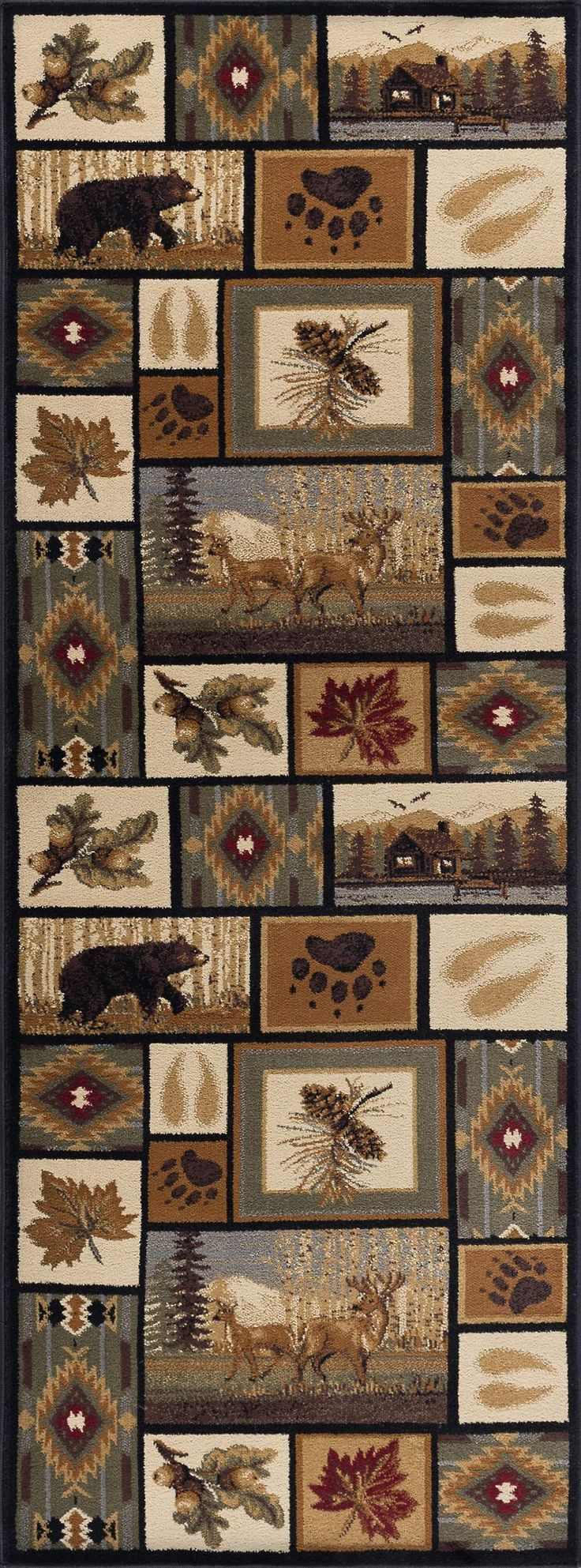 Nature Northern Wildlife Novelty Lodge Area Rug