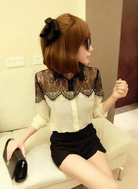 Stylish Shirt Neck Black Lace Splice Long Sleeve Chiffon Shirt For Women (AS THE PICTURE,ONE SIZE) | Sammydress.com